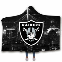Oakland Raiders Velvet Fleece Hooded Blanket Soft Warm Hoodie Cloak Blanket Gift