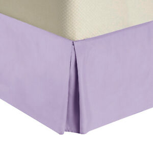 """450TC Cotton Bed Skirts-15"""" Drop Pleated Tailored Bed Skirts with Split Corners"""