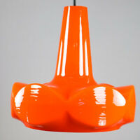 Peill + Putzler Glas Pendel Lampe Orange Glas Pylone Leuchte 70er Jahre vintage