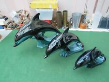 SET OF THREE POOLE POTTERY DOLPHINS