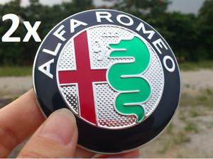 2pcs 74mm Alfa Romeo Front Back Hood Trunk Stickers Badges Emblems for Giulietta