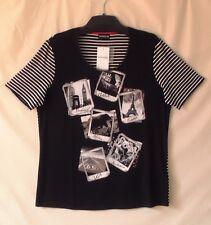 Samoon Shirt Gerry Weber kurzarm Rücken gestreift Jersey schwarz Neu Damen Gr.44