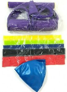 4 Tube Foot Pedal Puller Resistance Bands and 9 inch Pilates Ball NEW