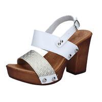 Damen schuhe MADE IN ITALY 41 EU sandalen platin Weiß Kunstleder BY515-41