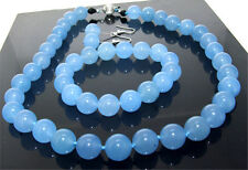 """New 18"""" Necklace Bracelet Earring Blue Jade 10mm Gemstone Knotted Each Beads"""