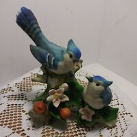 "Vintage Porcelain 2 Blue Jays Sitting on Branch With Flowers. ""Beautiful"""