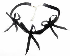CUTE ADJUSTABLE LADIES SUEDE BLACK CHOKER NECKLACE FEATURING CHARMING BOW(ZX1)