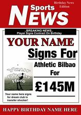 Football Personalised Athletic Bilbao Birthday Greeting Card Add Photo Name age