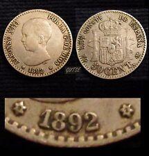 *GUTSE*336-ALFONSO XIII, 50 CÉNTIMOS 1892*2-2, VARIANTE ESCASA, MBC++