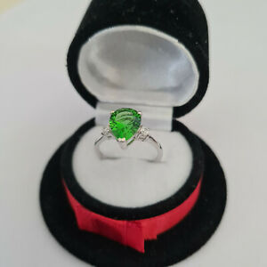 Beautiful Helenite & Zircon ring in Sterling silver