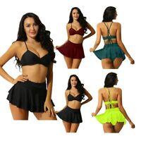 Womens Two Piece Bikini Set Swimwear Sexy V Plunge Bra Ruffle A Skirt Knicker