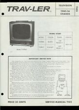 Rare Factory Admiral T12P2800 T12P2817 Trav-Ler TV Television Service Manual