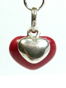 GENUINE LINKS OF LONDON SILVER RED ENAMEL DOUBLE HEART CHARM PENDANT Bracelet