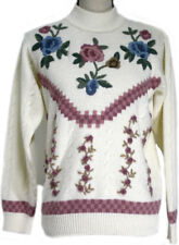 Vtg Alfred Dunner Womens Small Sweater Ivory Dusty Rose Embroidery Crewel Floral