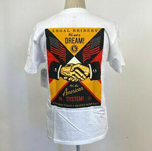 Obey Men's T-Shirt End Corruption White Size M NWT Shepard Fairey