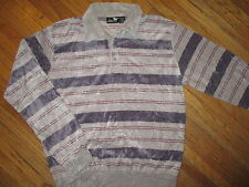 vtg 70s 80s SILVER UNICORN VELOUR SHIRT Longsleeve Gray Crimson Red Stripe Large