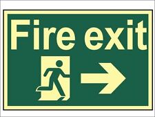 Scan - Fire Exit Running Man Arrow Right - Photoluminescent 300 x 200mm
