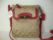 Coach Kristin Signature Sat Swingpack Bag Khaki Scarlet 46989