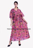 Women Summer Long Maxi Kaftan Flare Swing Loose Vintage Bird Floral Dress HOT