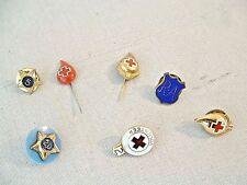 Vintage Lot 7 Medical Nursing Nurse Jewelry Pin Pinback RA Red Cross Blood Donor
