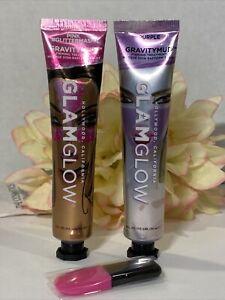 Glamglow GravityMud Purple & Pink Glitter Face Mask w/ Applicator Sealed No Box