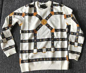 Versace Sweater Print Cotton Hoodie Italy Milano White Baroque Medusa  Men's