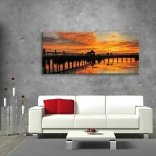 Wall Art Glass Print Digital Picture Unique Home Decor Pier Lake Sunset Any Size