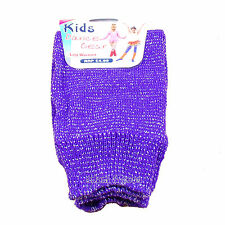 Childrens Colourful Neon Leg Warmers for Girls Boys One Size Purple With Glitter