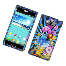 For LG Optimus Showtime HARD Protector Case Snap On Phone Cover Flower Blast