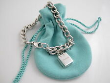Tiffany & Co RARE Silver Shopping Bag Charm Textured Bracelet Bangle Cuff!