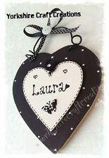 Girls Heart Door Sign Plaque Handmade & PERSONALISED WITH ANY NAME Black & White