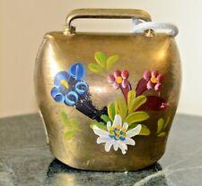 Vintage Brass Bell hand-Painted Flowers Switzerland Felt