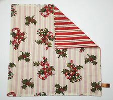 Set of 2 Great Finds CANDY CANES & HOLLY Cotton Christmas Napkins