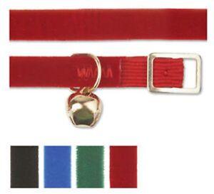 Ancol velvet elasticated cat collar + Bell Red Black Blue