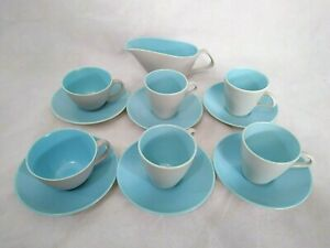 POOLE POTTERY Dove Grey & Sky Blue 2 X CUP & SAUCERS,4 COFFEE CUPS & 1 x JUG