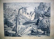 GRAVURE-ACHILLE JACQUET-MANTEGNA-TRIPTYQUE DE LA PASSION-LE CALVAIRE-RELIGION-