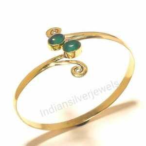 Nice Green Onyx Gemstone Brass Bangles Cuff Fashion Bracelets Jewelry