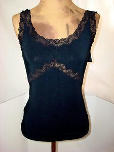 New Designer Josie Natori NWT Camisole Black Tank Small Womens S Top Lace Cami