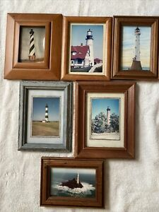 Lighthouse small glass, wood framed pictures set of 6 Most Are 5x7 Pictures