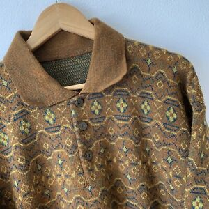 Vintage Original Jeans Men's Knitted Jumper Sweater Top Size L Brown Collared