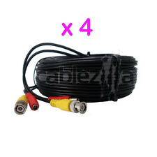 Lot4 Security Camera Black Video Power Siamese Pre-Made Cable CCTV BNC RCA 100FT
