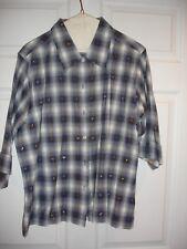 Dressbarn blouse size L Large 3/4S EUC button blue plaid with metallic hearts