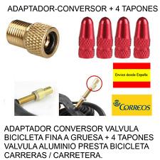 ADAPTADOR-CONVERSOR FINA A GRUESA + 4 TAPONES VALVULA ALUMINIO COLOR ROJO