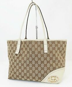 Authentic GUCCI Brown GG Canvas and Off White Leather Shoulder Tote Bag #40444