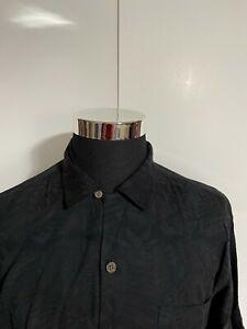 TOMMY BAHAMA 100% Silk Black Shirt Sz M