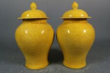 Beautiful Chinese yellow glaze porcelain incised pots