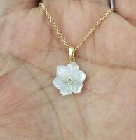 14K Yellow Gold  White Mother Of Pearl Plumeria Flower Diamond Pendant Necklace