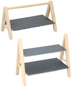 1 or 2 Tier Slate Cake Stand Wooden Wedding Party Food Tiered Serving Display