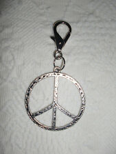 """SILVER METAL """"PEACE"""" SIGN KEY RING/PURSE CHARM HANDCRAFTED  *KELLYS*KOUTURE*"""