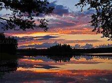 ACQUA di lago tramonto Svezia PHOTO art print poster foto bmp1438a